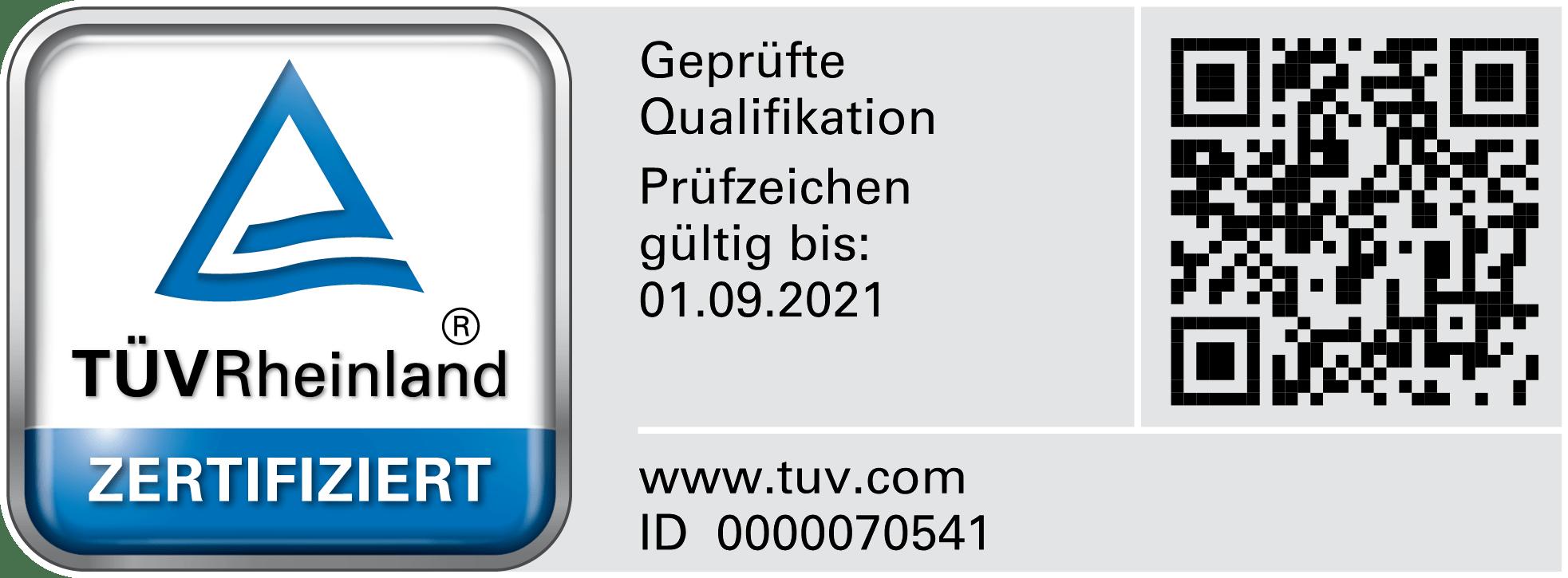 Ehrhardt Bauelemente TUEV Zertifikat